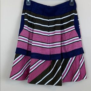 Maeve Navy Pink and Olive Striped Skirt